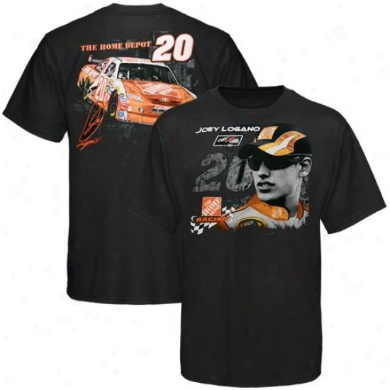 Joey Logano T-shirt : #20 Joey Logano Black Tack Dowh T-shirt
