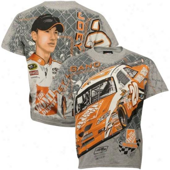 Joey Logano T-shirt : #20 Joey Logano Gray Oversize T-shirt