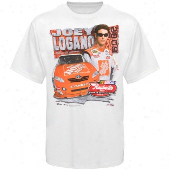 Joey Logano Tees : #20 Joey Logano Whitd 2009 Rookie Of The Yes5 Tees