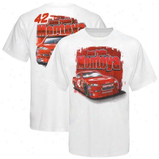 Juan Pablo Montoya T Shirt : #42 Juan Pablo Montoya White Drive Shaft T Shirt