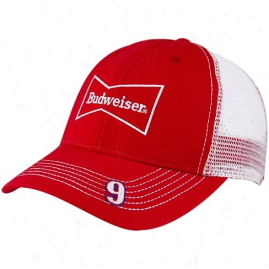 Kasey Kahne Caps : #9 Kasey Kahne Red-white Budweiser Adjusttable Mesh Trucker Caps