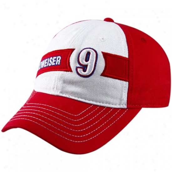 Kasey Kahne Hat : #9 Kasey Kahne Ladies Red-white Budweiser Adjustable Slouch Hat
