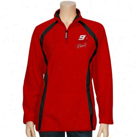 Kasey Kahne Jacket : Kasey Kahne Ladies Red Checkered Future 1/4 Zip Fleece Pullover