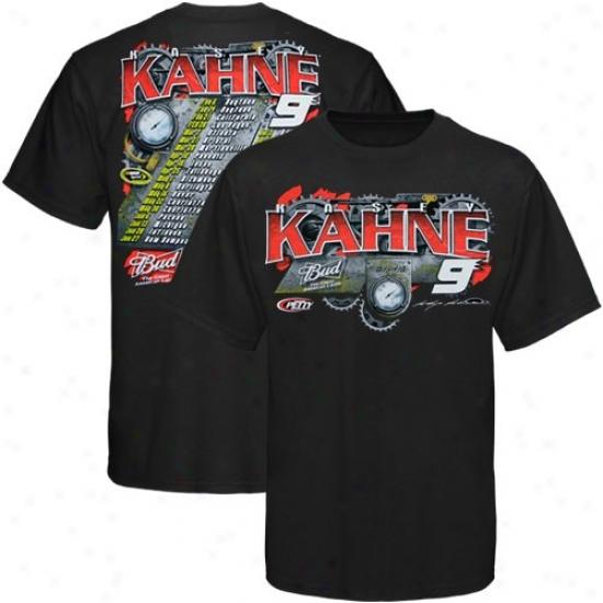 Kasey Kahne Tshirts : #9 Kasey Kahne Black 2010 Sprint Cup Series Schedule Tshirts