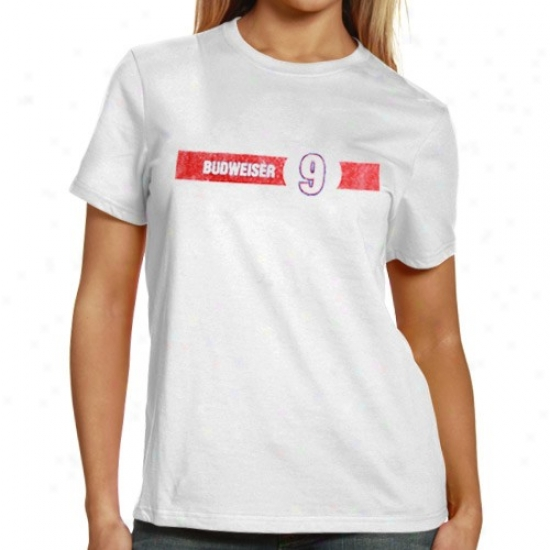 Kasey Kahne Tshirts : Kasey Kahne Ladies White Distressed Logo Tshirts