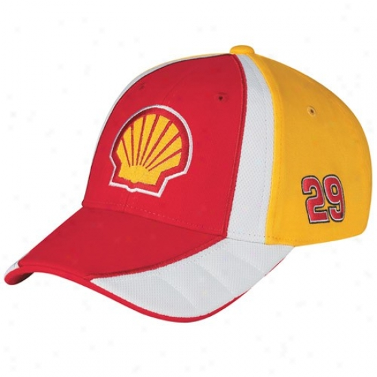 Kevin Harvick Hats : #29 Kevin Harvick Red-gold Driver Pit Adjustable Hats