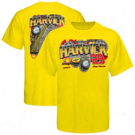 Kevin Harvick Tshirt : #29 Kevin Harvick Gold 2010 Schedule Tshirt