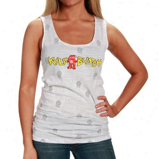 Kyle Busch Apparel: #18 Kyle Busch Ladies White Speed Tank Top