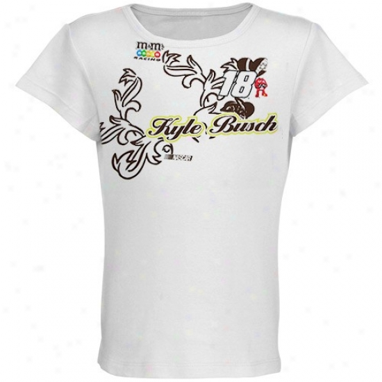 Kyle Busch Dress: #18 Kyle Busch Youth Girls White Coral Racer T-shirt