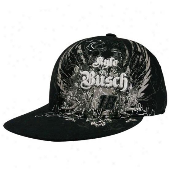 Kyle Busch Gear: #18 Kyle Busch Youth Black Nascar Flair Flex Fit Hat