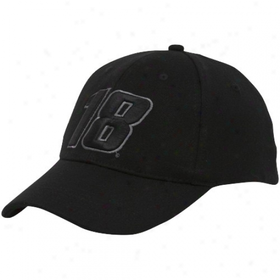 Kyle Busch Hat : #18 Kyle Busch Black Tonal Flex Fit Hat