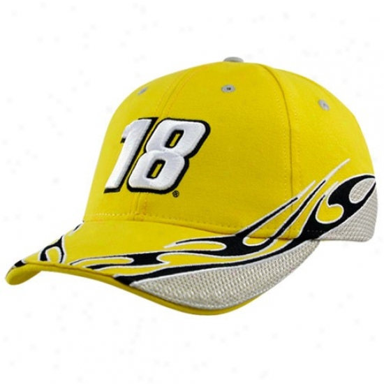 Kyle Busch Hat : #18 Kyle Busch Gold Element Adjustable Hat