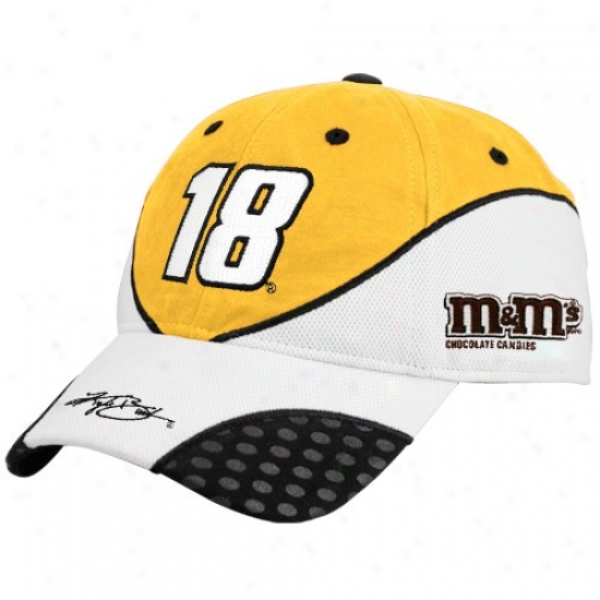 Kyle Busch Hat : #18 Kyle Busch Gold Recharged Adjustable Hat