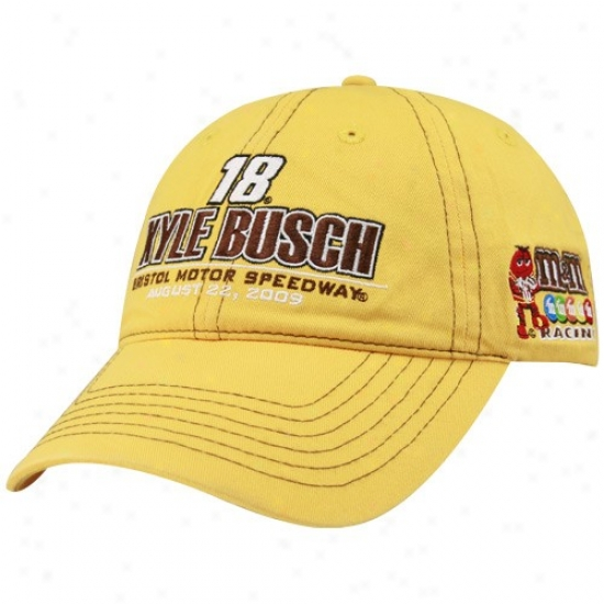Kyle Busch Hat : Kyle Busch Gold Bristol Motor Speedway Sharpie 500 Winner Adjustable Hat