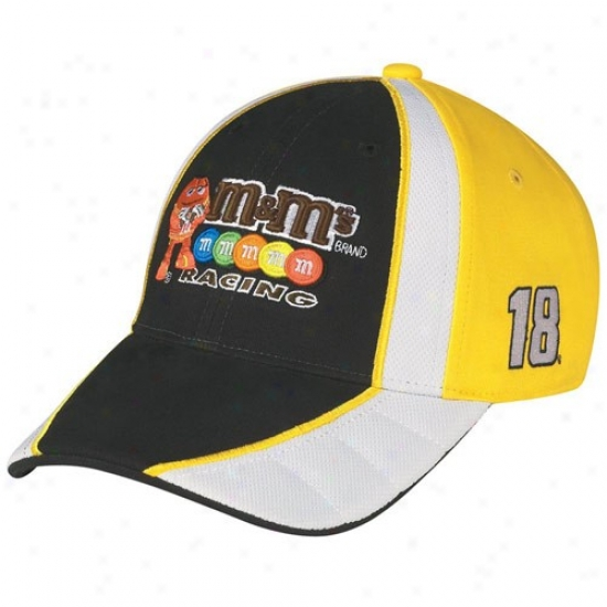 Kyle Busch Hats : #18 Kyle Busch Black-gold Driver Pit Adjustable Hats