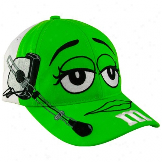 Kyle Busch Hats : #18 Kyle Busch Youth Green-white M&m Character Adjustable Hats