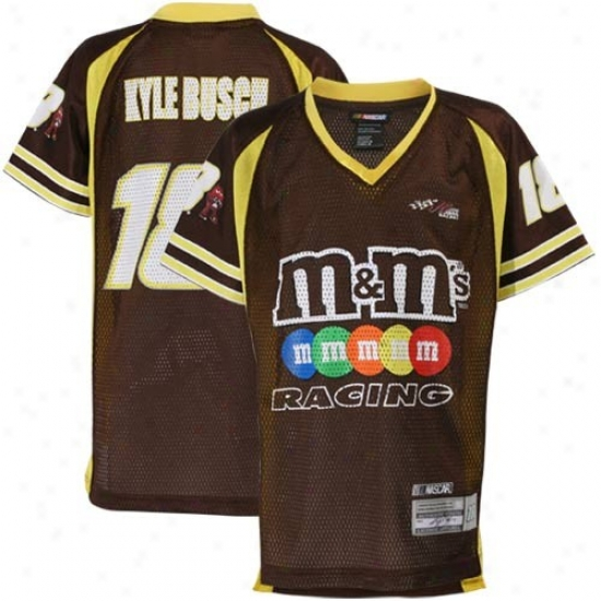 Kyle Busch Jersey : #18 Kyle Busch Youth Brown Replica Mesh Jersey