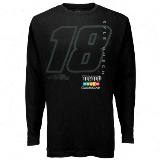 Kyle Busch Shirt : #18 Kyle Busch Black Thermal Long Skeeve Shirt