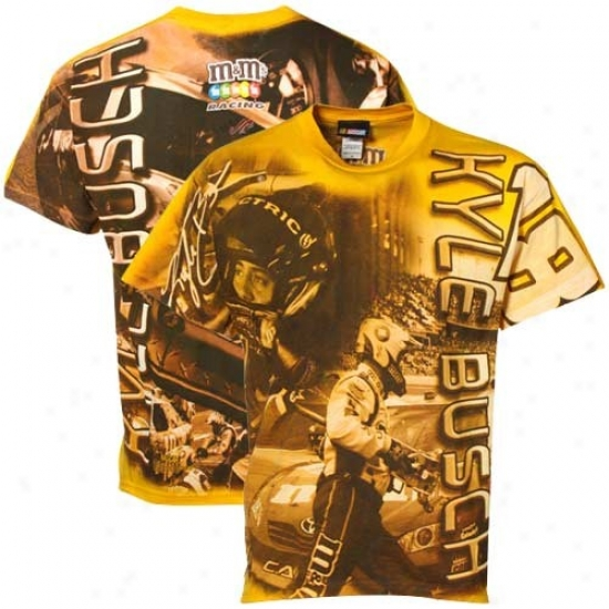 Kyle Busch Shirts : #18 Kyle Busch Gold Oversize Shirts