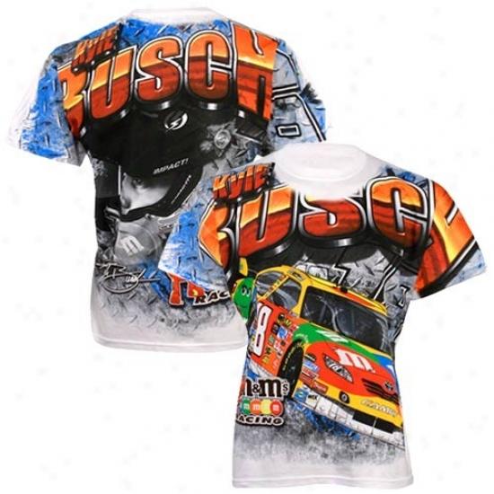 Kyle Busch Shirts : #18 Kyle Busch White Tonal Stamp Shirts