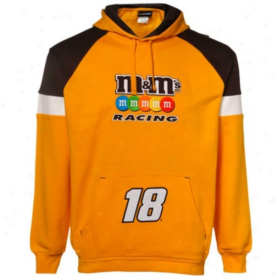 Kyle Busch Stuff: #18 Kyle Busch Yellow Down Force Pullover Hoody Sweatshirt