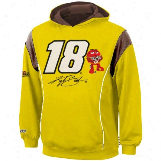 Kyle Busch Stuff: #18 Kyle Busch Youth Yellow Grasp Hoody Sweatshirt