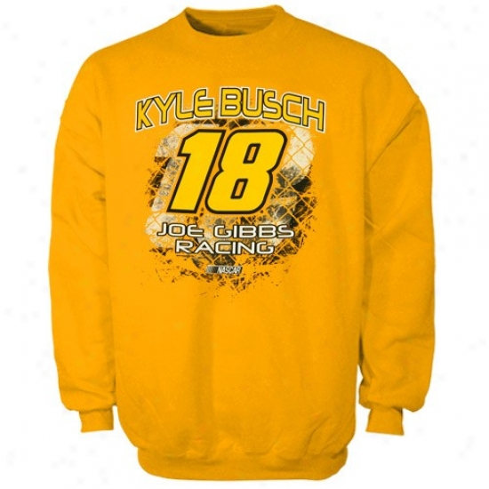Kyle Busch Sweat Shirts : #18 Kyle Busch Gold Aero Push Company Sweat Shirts