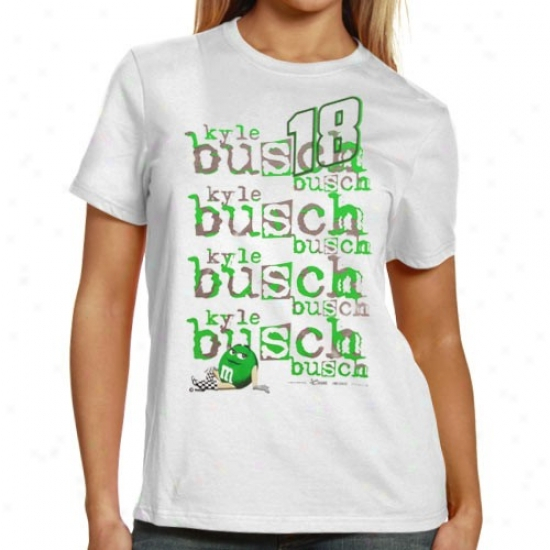 Kyle Busch T-shirt : #18 Kgle Busch Ladies White Repeat Names T-shirt