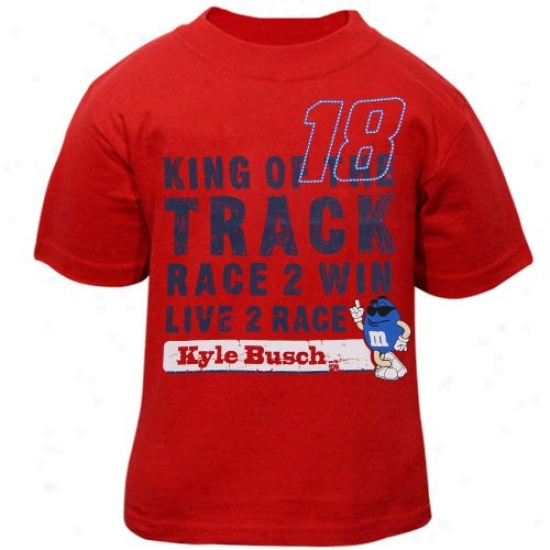 Kyle Busch T-shirt : #18 Kyle Busch Toddler Red Win T-shirt