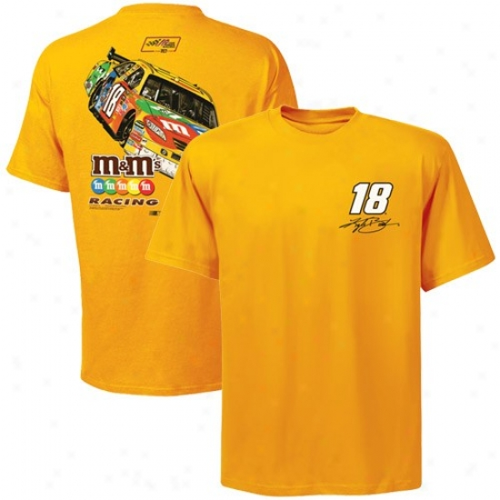 Kyle Busch T Shirt : #18 Kyle Busch Golden Back Straightaway T Shirt