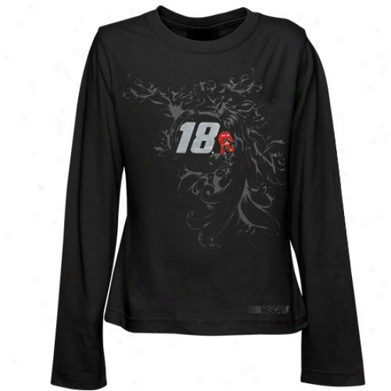 Kyle Busch T-shirt : #18 Kyle Busch Youth Girls Black Shadowed Long Sleeve T-shirt