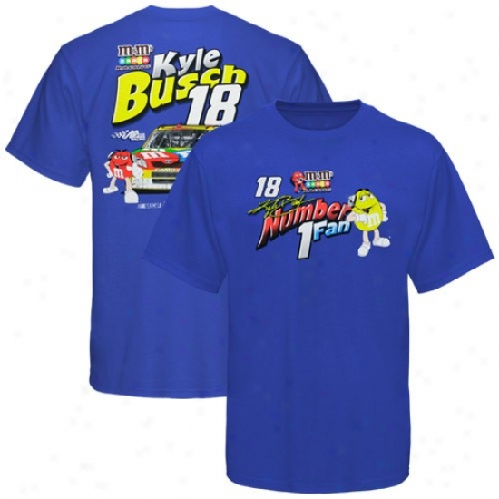 Kyle Busch T Shirt : #18 Kyle Busdh Yoith Royal Blue Number 1 Fan T Shirt