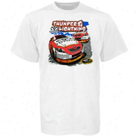 Kyle Busch Tee : Toyota Racing Youth White Thunder & Lightning Tee