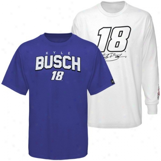 Kyle Busch Tees : #18 Kyle Busch Royal Blue-wbite 3-in-1 Tees Combo Pack