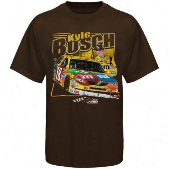 Kyle Busch Tshirt : #18 Kyle Busch Brown Front Straightaway Tshirt