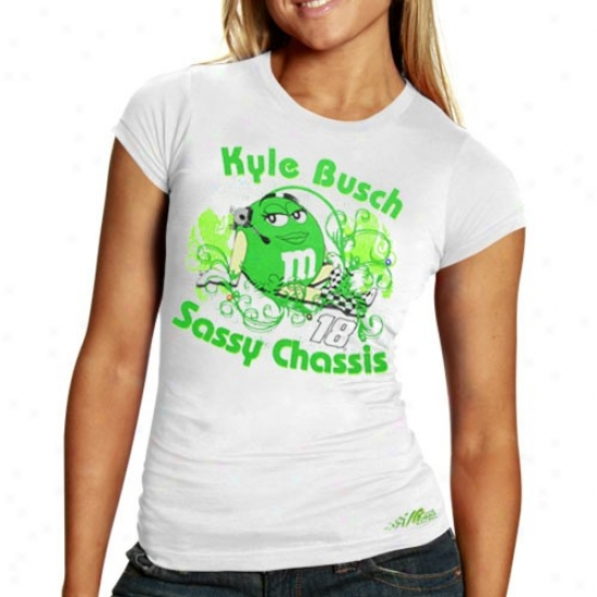 Kyle Busch Tshirt : #18 Kyle Busch Ladies White Sassy Chassis Tahirt