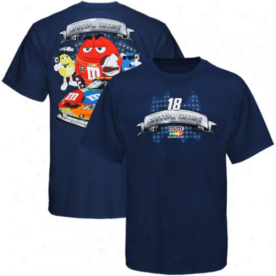 Kyle Busch Tshirt : #18 Kyle Busch Navy Blue Airing Shaft Tshirt