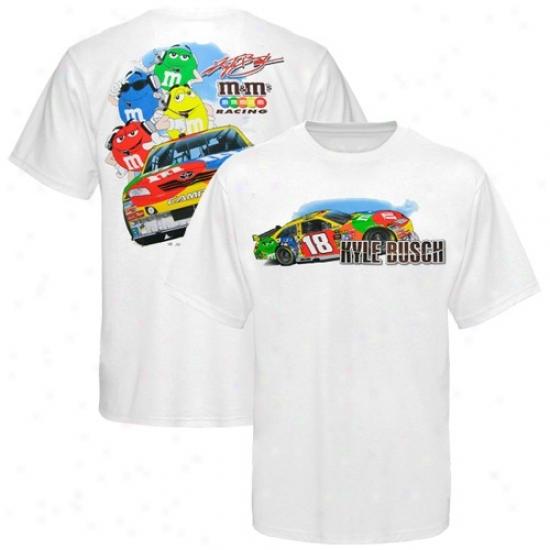 Kyle Busch Tshirts : #18 Kyle Busch White M&n's Tshirts