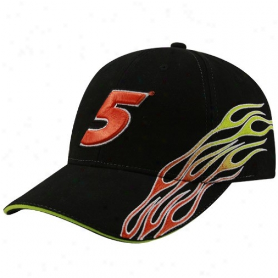 Mark Martin Hats : #5 Mark Martin Black Flamee Adjustable Hats
