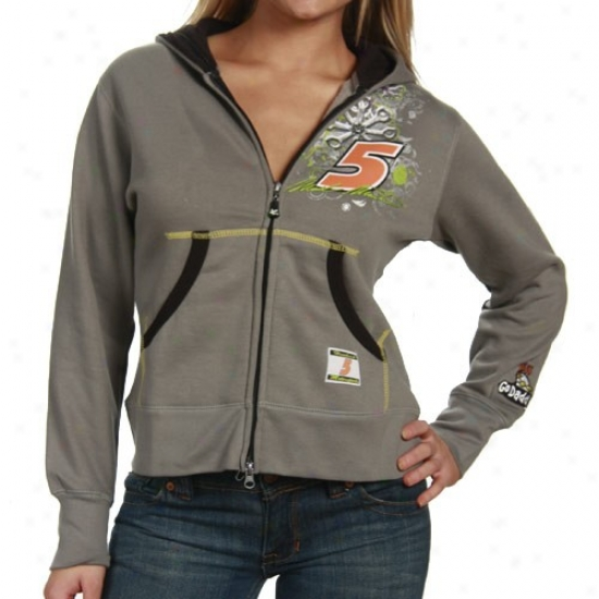 Mark Martin Hoodys : #5 Mark Martin Ladies Gray Double-zip Hoodys