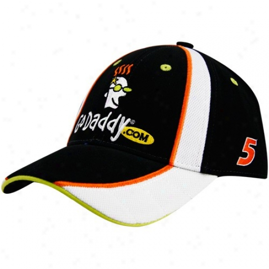 Mark Martin Merchandise: #5 Mark Martin Black-white 2010 Official Pit Adjustable Hat