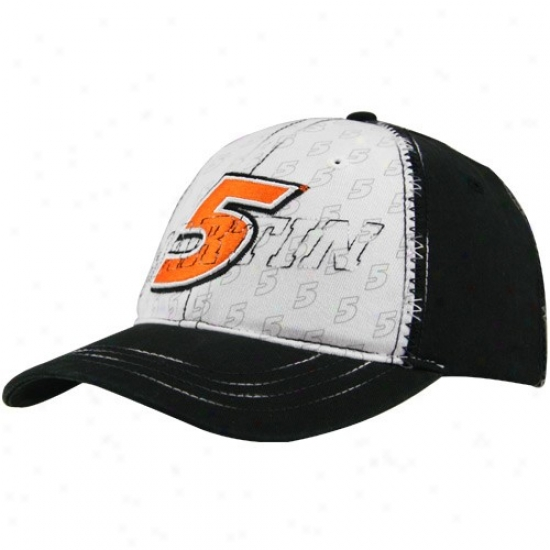 Mark Martin Merchandise: #5 Mark Martin White-black Big Number Adjustable Hat