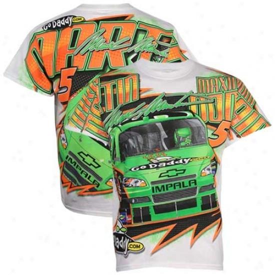 Mark Martin T Shirt : #5 Trace Martin White Tonal Print T Shirt