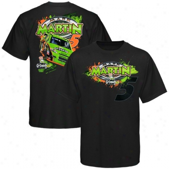 Mark Martin T-shirt : #5 Mark Martin Youth Black Go Daddy T-shirt