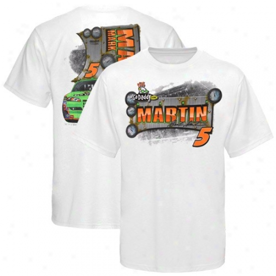 Mark Martin Tee : #5 Mark Martin White Drive Shaft Tee