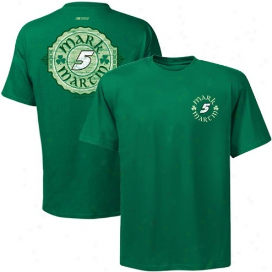 Mark Martin Tshirt : Majestic #5 Mark Martin Kelly Green Tried And True Tshirt