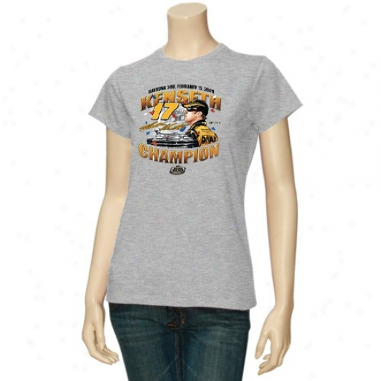 Matt Kenseth Attire: #17 Matt Kenseth Ladies Ash 2009 Daytona 500 Champion T-shirt