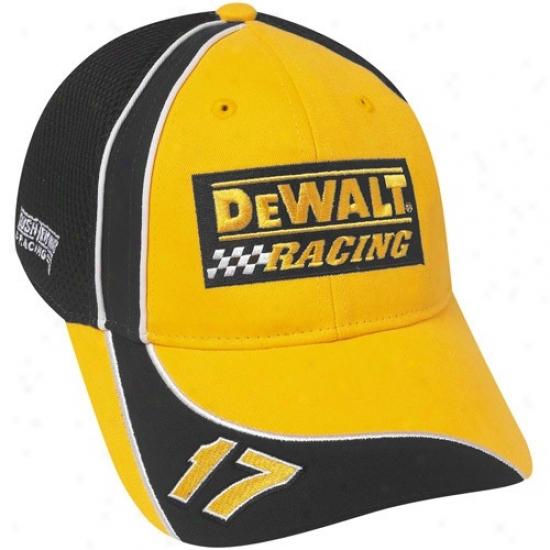 Matt Kenseth Hats : #17 Matt Kenseth Gold Offivial Driver Pit Adjustable Mesh Back Hats