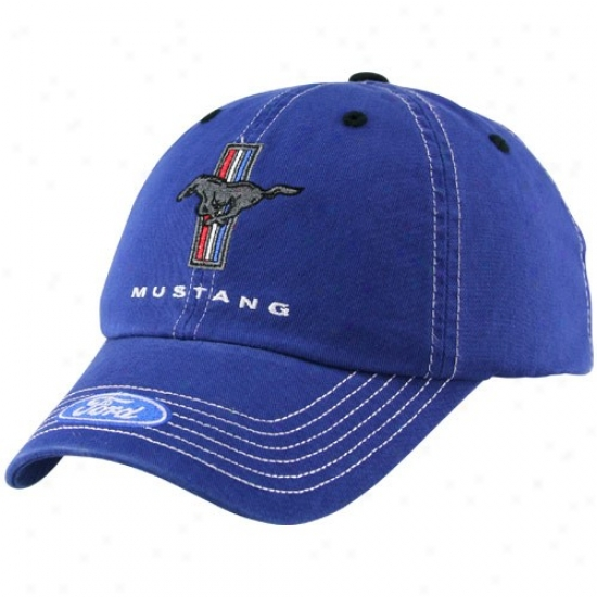 Matt Kenseth Merchandise: Wade through Mustsng Royal Blue Adjustable Slouch Hat