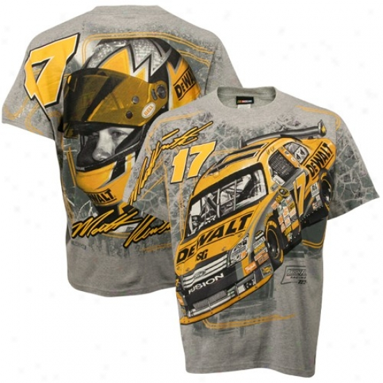 Matt Kenseth Tshirt : #17 Matt Kenseth Gray Oversize Tshirt